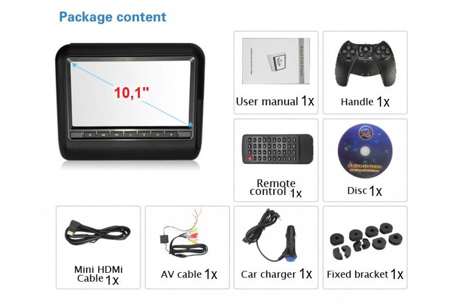 Car head rest LCD CD DVD player MP3 FM IR SD USB 10 inch HD
